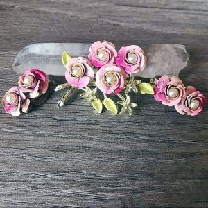 Vintage Floral Earrings & Brooch Set